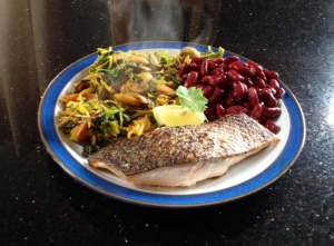 Pan fried salmon with chili&lemon vegetable stir fry and red kidney beans